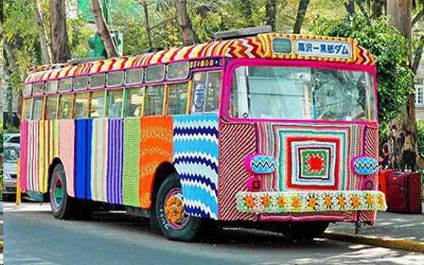 yarn bombed bus from Magda Sayeg