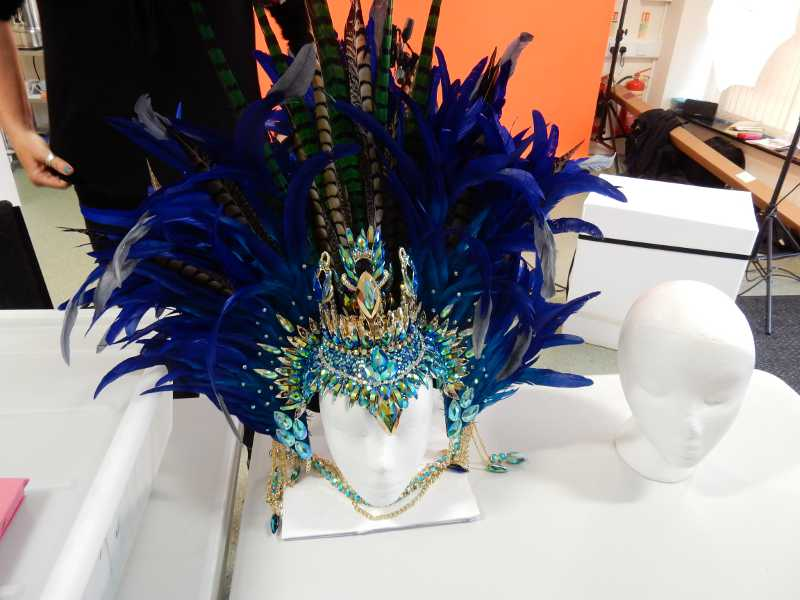 Silver Snappers with the carnival headpieces